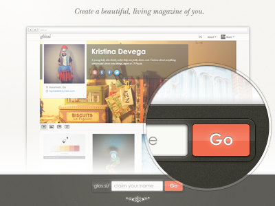 Glossi Landing Page ui landing page signup registration button text field ornament loupe