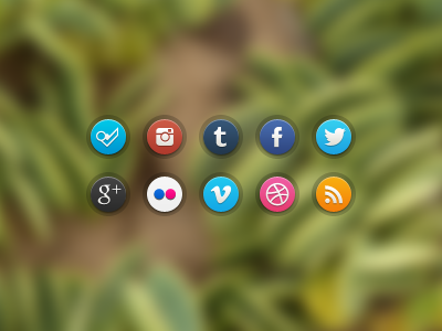 New Glossi Social Icons PSD ui glossi social icons facebook twitter dribbble vimeo