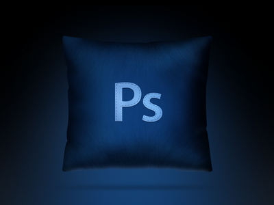 Photoshop pillow  icon pillow photoshop soft dark blue embroidery handmade light