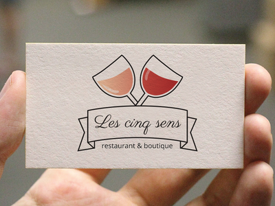 Logo for a french restaurant logo design restaurant french card style red ribbon wine glass