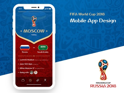 FIFA World Cup 2018 Mobile App ui ux moscow design tickets app mobile russia worldcup fifa2018