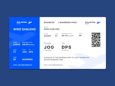 Daily UI #024 | Boarding Pass email purchase user experience boarding boarding pass user interface