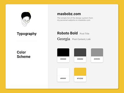 masbobz.com Design System color scheme typography uiux ux ui user experience user interface design system