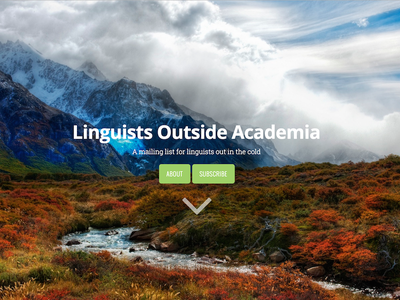 Linguists Outside Academia website background image minimal landing page oversaturation