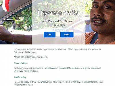 I Nyoman Taxi Driver's Website website background image transparent minimal