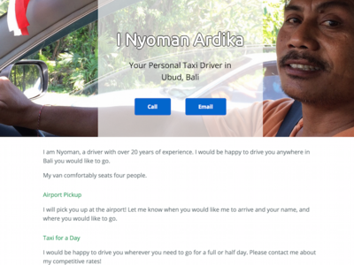 I Nyoman Taxi Driver's Website website background image transparent minimal