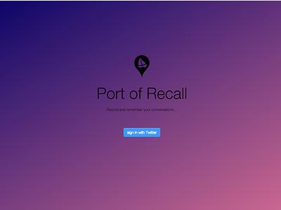 Port of Recall Prototype landing fade minimalism landing page prototype