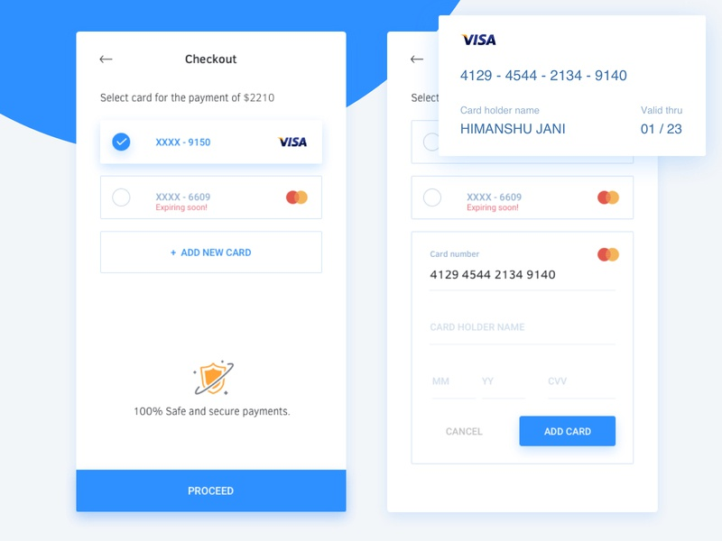Checkout add new card