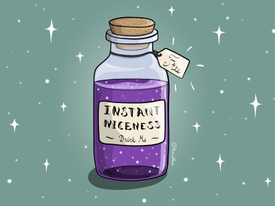 Instant Niceness Potion bright colors magic potion potion vectorart adobe illustrator vector illustration vector illustration