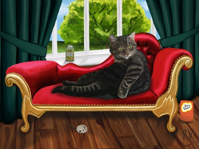 Paint Me Like One Of Your French Girls pet portrait photoshop digital painting