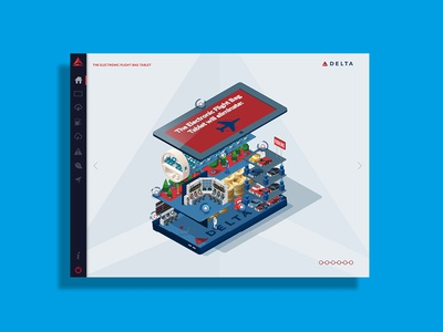 Delta Airlines Electronic Flight Bag navigation tablet ipad airline layout delta illustration design app interactive ui infographic