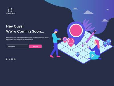Coming soon landing page flat website vector ui illustration design animation nearby map pins map location coming soon page landing page