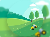 Farm SVG Animation using GSAP(TweenMax JS) trees svg animation gsap tweenmax clouds tractor farm farming farmer website branding flat vector ui animation illustration design