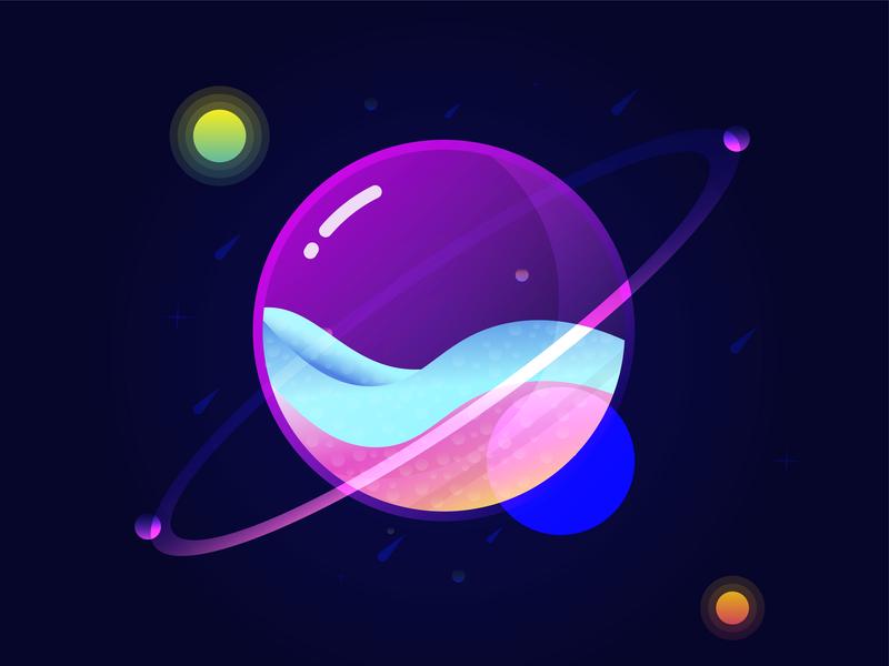 Planets & Space futuristic future illustrator planets space color image illustraion design
