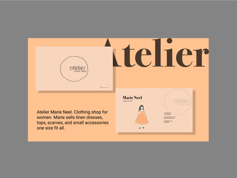 Atelier business cards vector icon typography logo branding business cards