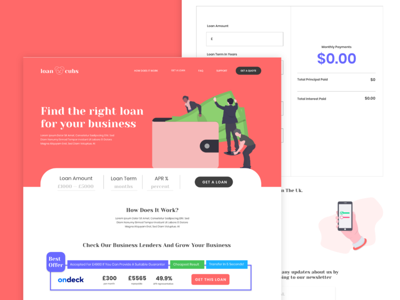 Website Concept for Loancubs user experice uiux colorful modern finance landing page uidesign adobexd