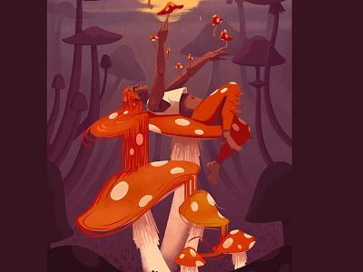 Mushroom 1 growing night spores fungi mushroom