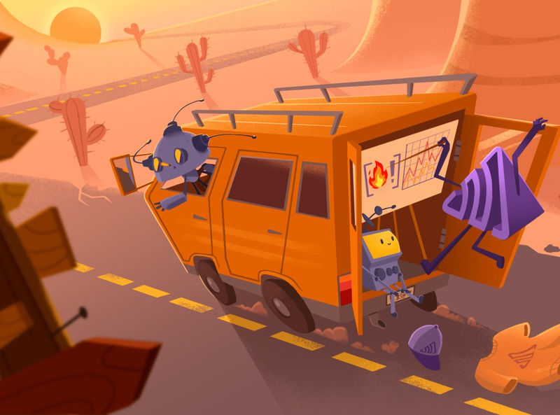 On the Road Events roadmap lost charts cactus cacti desert travel events swag robots van trip road sentry