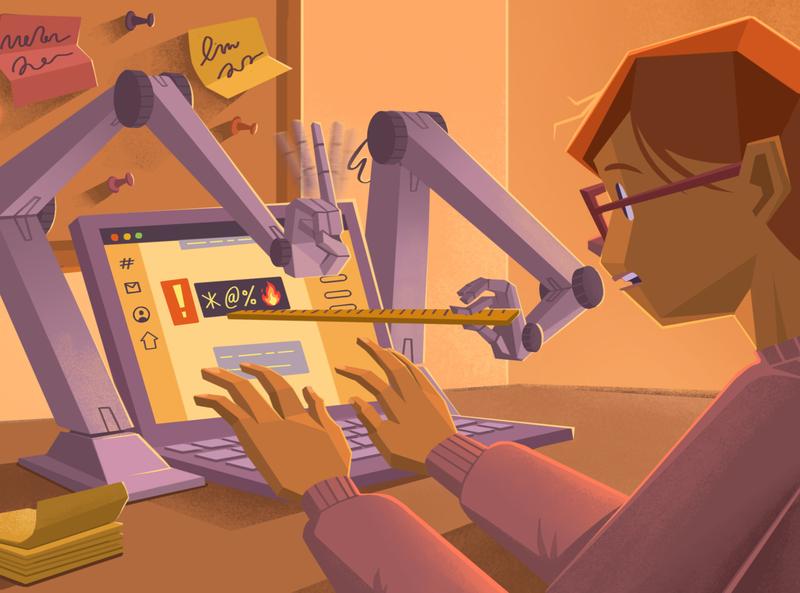 Be Kind Bot comments socialmedia ruler laptop robot etiquette rules manners kind rude