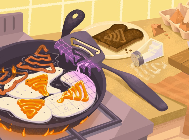 Cooking Something Up breakfast burnt sentry surreal eggs melting fires cooking