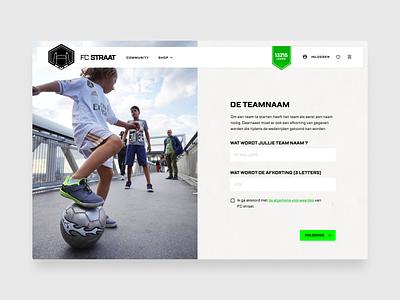 FC Straat - Create your team onboarding layout design ui desgin ux ui soccer football desktop design