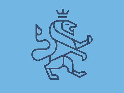 Royal Lion blue animal geometric flat design branding icon logomark logo illustration vector