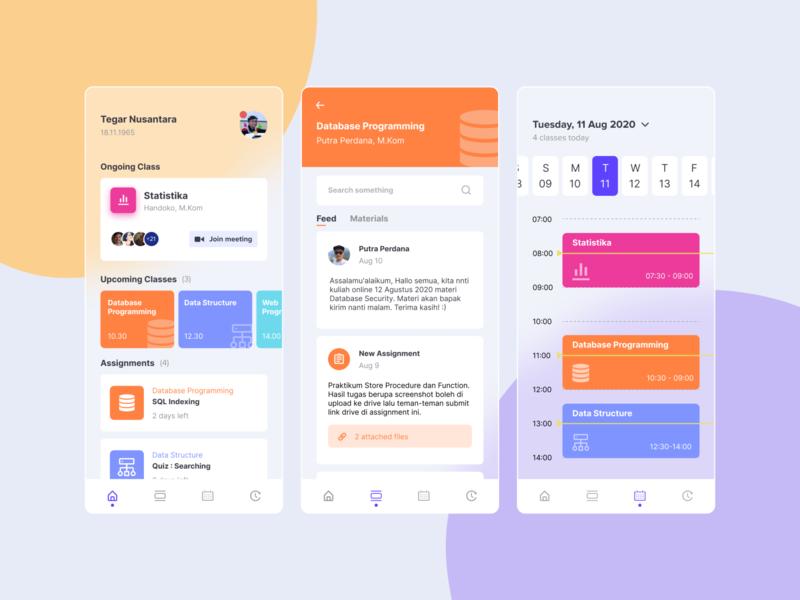 UI Design Exploration — Online Class App mobile design online class typography mobile ux ui flat design app