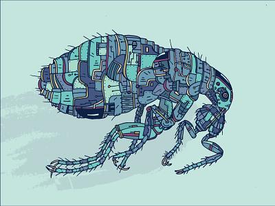 Biomechanical Tick Part 2 jump hop jumping blue teal plate metal metal art sketchbook line art abstract graphic design biomechanical vector illustration bite me bed bug bug tick insect vector art