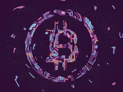 Bitcoin Explosion brand money cryptocurrency illustration shape linework line art explosion abstract vector graphic design biomechanical logo design logo branding crypto bitcoins