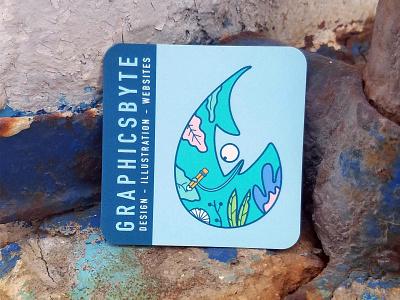 Graphicsbyte Business Card oregon shape square business card business cards line draw line art chameleon raindrop illustration graphic design logo vector branding business card