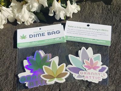 Granny's Attic Dime Bag Sticker Pack graphic design cannabis logo logodesign dime marijuana marijuana logo organic leaf logo shape logo transparent vector stickermule cannabis branding logo stickers