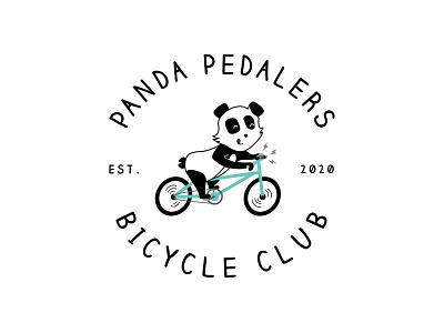 Panda Pedalers Bicycle Club panda bike illustration vector cartoon logo childrens illustration teal bike panda pedalers panda panda bear line logo logo design branding brand bike shop bike logo bike club bicycle logo bicycle 2020 logo 2020 design