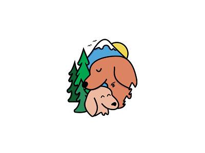 PNW Dachshund Logo logo oregon abstract illustration logo design sausage dog weiner dog mountain logo tree logo pet logo line logo graphic design mountains trees dachshund logo dog logo