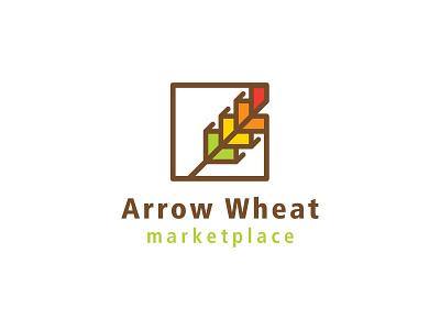 Arrow Wheat Marketplace Logo shopping fruit vegetable organic bread grain abstract branding logo design vector groceries grocery store traffic light arrow logo wheat logo logo dribbbleweeklywarmup marketplace wheat