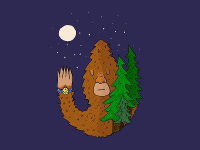 Sasquatch Watch 80s style watch folklore childrens book handdrawn digital illustration procreate illustration oregon forest trees pnw sasquatch