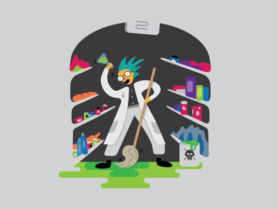 Mad Scientist Needed in Aisle Two! october vector drawlloween process sketch toxic waste graphic illustration negative space janitor illustration toxic clean up grocery store halloween halloween design mad scientist scientist science