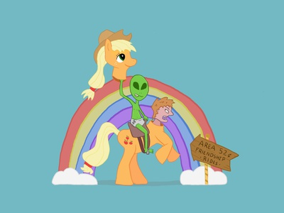 Area 52 Cent Friendship Rides design friendship costume party halloween illustration procreate art rainbow fanart cartoon adult baby drawlloween area 51 ufo alien aliens brony my little pony applejack
