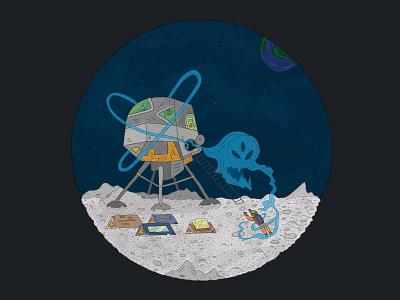 The Haunting of Lunar Base IV space spaceship moon october halloween ghosts comic art lineart procreate app procreate plants life astronaut ufo aliens illustration moon base moon landing drawlloween