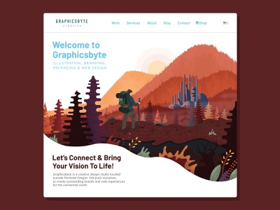 Graphicsbyte Homepage 2020 ui ux wordpress sunset nature forest trees city hiking design pnw oregon graphic design web illustration illustation uiux website