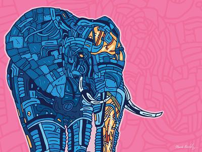 Metal Elephant random biomechanical abstract technical drawing mechanical line art africa animal robot transparent pink blue digital illustration vector cyborg elephant graphic art graphic design illustration metal