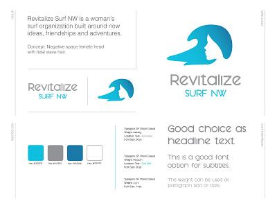 Revitalize Surf NW Case Study typeface brandbook gradient logo illustraion tidal wave rider girl wave hair wave ocean feminism negative space surfing logo womans surfing