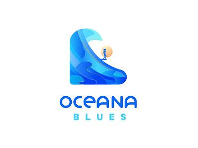 Oceana Blues - Woman's Surfing Wave Logo logo noseride water ocean branding japan2021 japan olympic game surf surfing olympic sport summer olympics olympics logo design wave logo tidal wave womans surfing woman