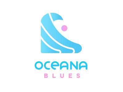 Oceana Blues Sunset Alt. Logo brand logo design weekly warmup waves blue pink tribal water ocean surf logo japan 2021 summer olympics surfing summertime summer surf tidal wave wave sunset