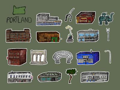 Portland Oregon Stickers burnside illustration line drawing sculpture branding buildings sticker pack oregon portland pnw stickers
