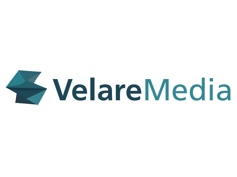 Velare Media Logo graphic. branding geometric shape paper logo design origami abstract graphic design logo