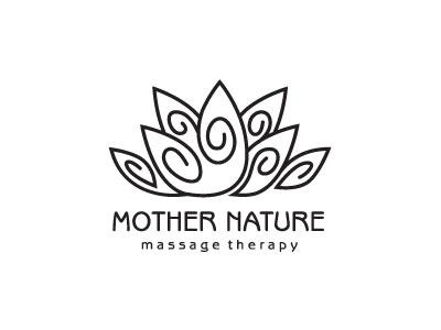Lotus Line Logo healing nature logotype logo design black abstract oregon plant swirls massage massage therapy flower lotus line logo organic