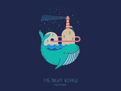 The Night Voyage blue whale oregon pdx star constellations big dipper splash waves geometric abstract stars adventure island lighthouse whale design graphic design childrens book