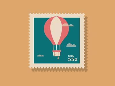 Hot Air Balloon Stamp graphic design balloons shape icon graphic illustrator aeronaut flat illustration vector ballon stamp stamp hot air balloon balloon