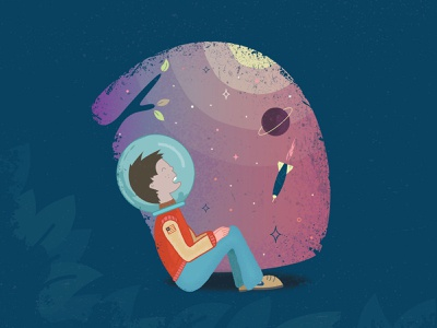 Dreamer Boy nike vector illustraion abstract planets rocket spaceship childrens illustration bomber jacket astronaut fish bowl illustration dream day dream space dreamer child young boy