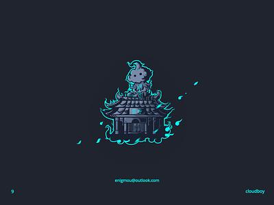 XIII-Cloud Boy artwork logo vector blue